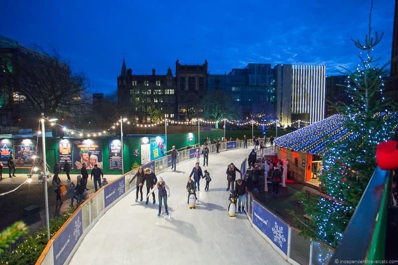 ice skating Christmas in Edinburgh Scotland December