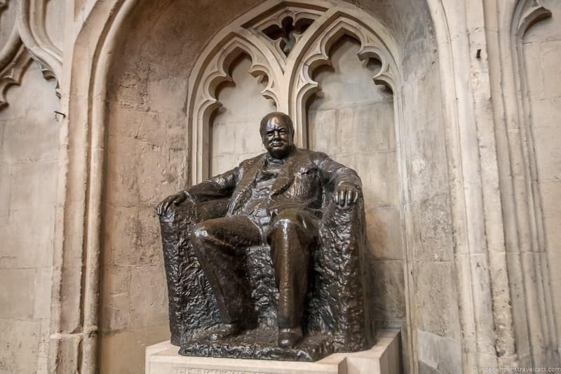 Guildhall statue Winston Churchill in London sites attractions England UK