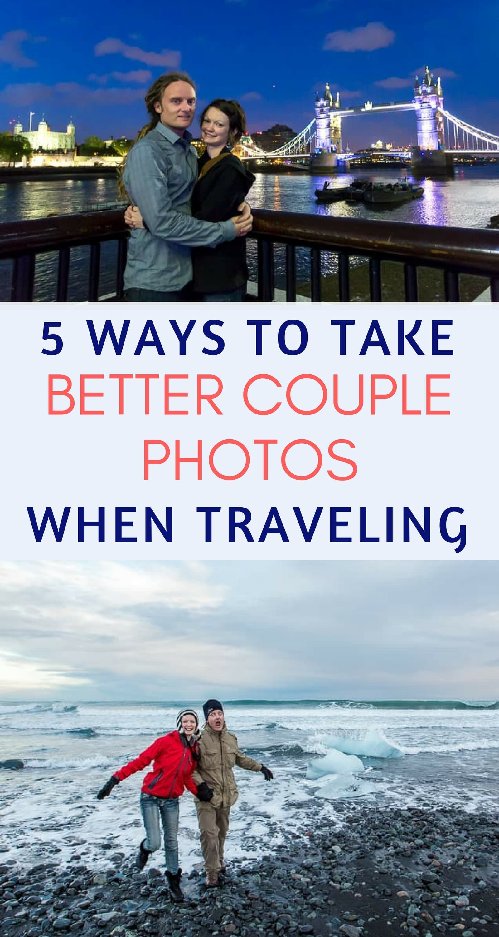 Our guide to taking great couple photos while traveling, sharing all the methods and strategies we have used. We cover everything from selfie sticks to tripods to hiring a professional photographer, and we discuss the pros and cons of each option. We then give tips and advice for getting the best travel couple photos while traveling no matter what method you choose. #travelphotography #couplephotos #couplestravel #romantictravel #photography