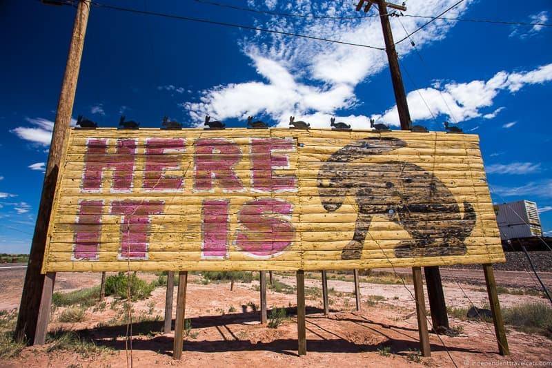 Jackrabbit Trading Post sign AZ Route 66 itinerary detailed guide