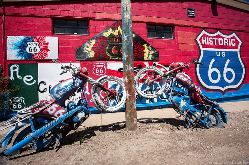 motorcycles bikes Seligman AZ 2 week Route 66 itinerary detailed guide