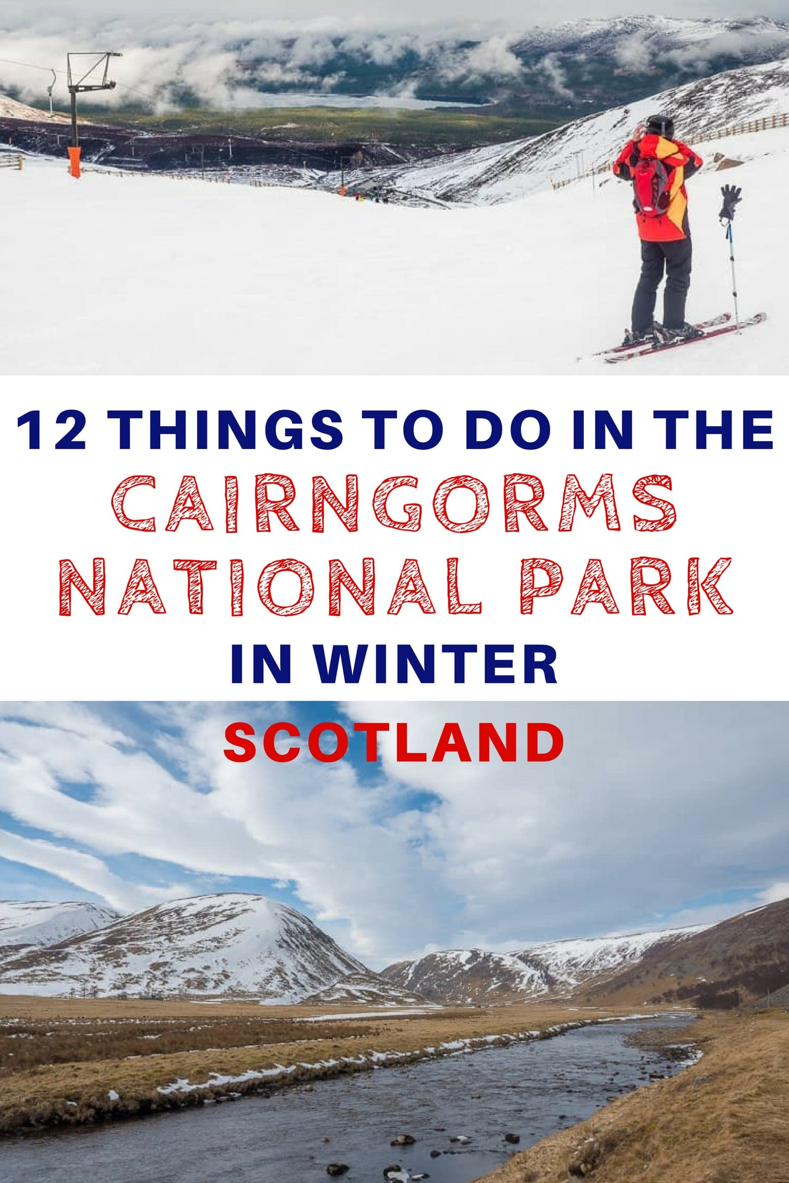 Our guide to traveling in the Cairngorms National Park in Winter in Scotland. We share 12 of the top things you can do in the Cairngorms during the winter months which include skiing, wildlife spotting, whisky tasting, exploring villages, hiking, and family attractions. We also share tips for getting around, winter driving, and finding lodging. #Cairngorms #Scotland #CairngormsNationalPark #ScottishHighlands #travel #wintertravel