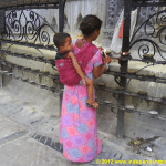 temple, Kathmandu, Nepal, people, woman, child, mother, son, asia