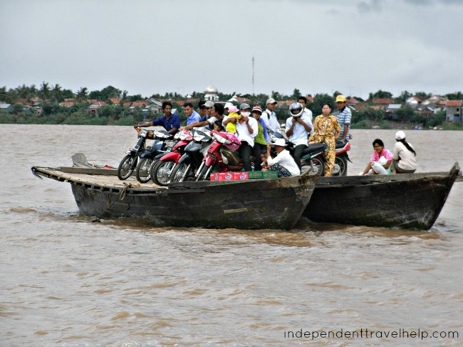 Cambodia, kampong cham, mekong, ferry, boat, river, asia, people