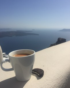 enjoying a cup of tea with an incredible view