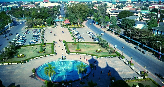 Part of the city view from the top of Patuxai  Laos Victory Gate, Vientiane's Arc de Triomphe