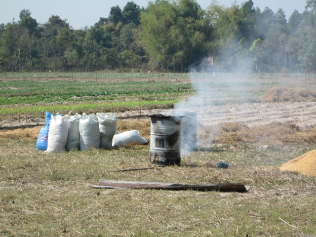 The production of biochar continues with the farmers fully involved.