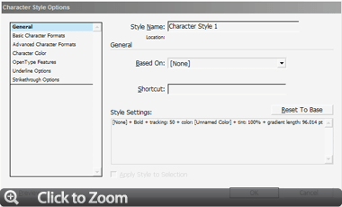 Figure 2: (Click to Zoom) The Character Style Options dialog