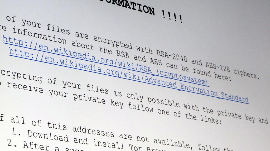 Virus ransomware en el correo electrónico - Mensaje