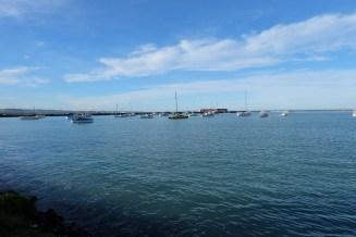 Sailboats in the harbor, Oamaru.