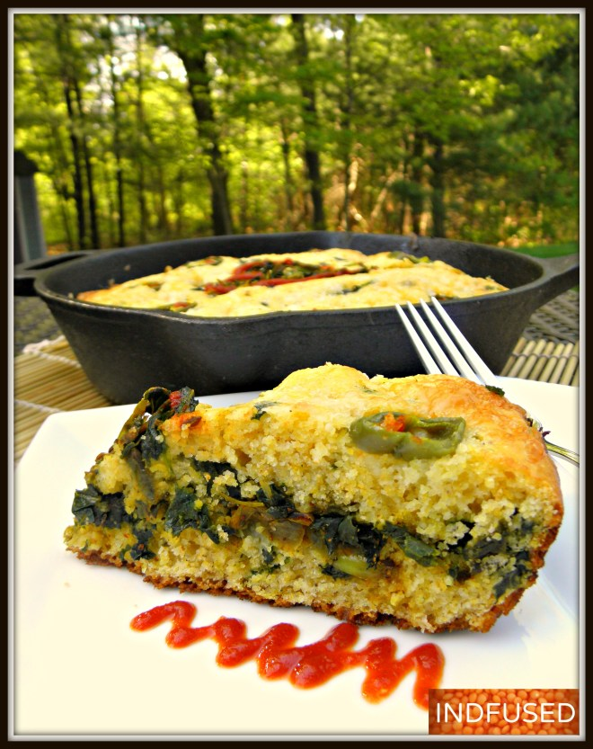 Curried Kale Cornbread Sandwich baked in a cast iron skillet!