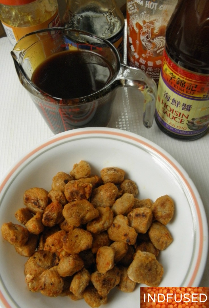 Popular # Indo Chinese, #vegetarian, soy nuggets and vegetables in a quick and easy spicy orange sauce