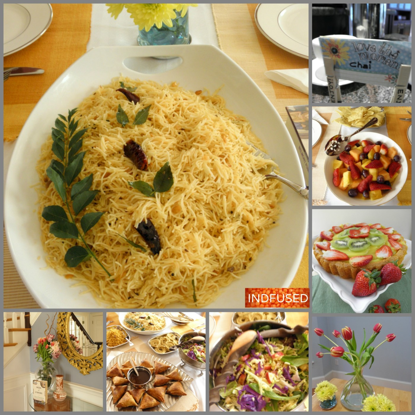 Vegetarian,Indian and Thai flavored seviya upma with Bambino brand roasted noodles, peanut meal and classic Indian cuisine tempering. Served with samosas , chida and chai. Seviya recipe with gluten free option too.