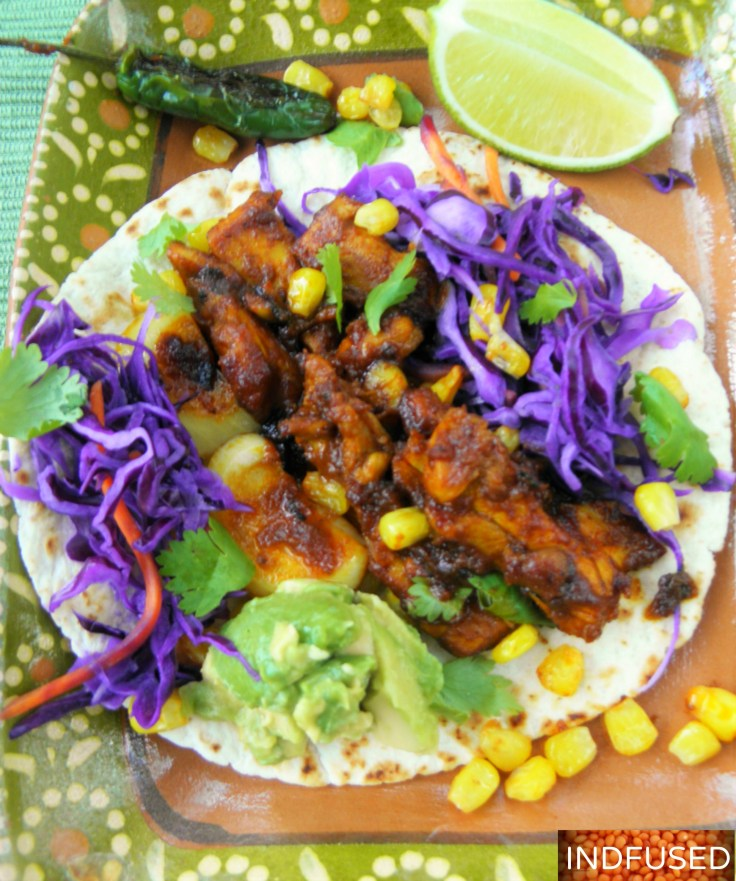 Easy , figure friendly recipe. Tender chicken coated with Indian vindaloo sauce, gluten free,Indo mexican fusion one pan meal with guacamole and red cabbage toppings.