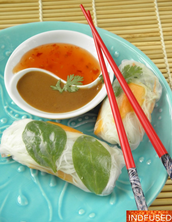 Healthy, gluten free, cool, summer rolls perfect for summer parties. These rolls and the delectable peanutty dipping sauce are packed with fusion flavors.