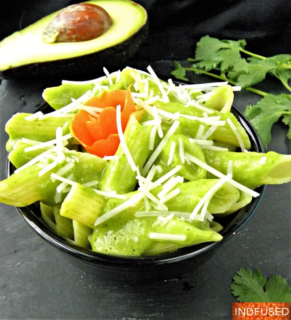 Gluten free, vegan, vegetarian #Barilla pasta #recipe with a delectable chutney sauce made with#Costco avocados, #TraderJoes sundried tomatoes and #Kraft grated parmesan cheese