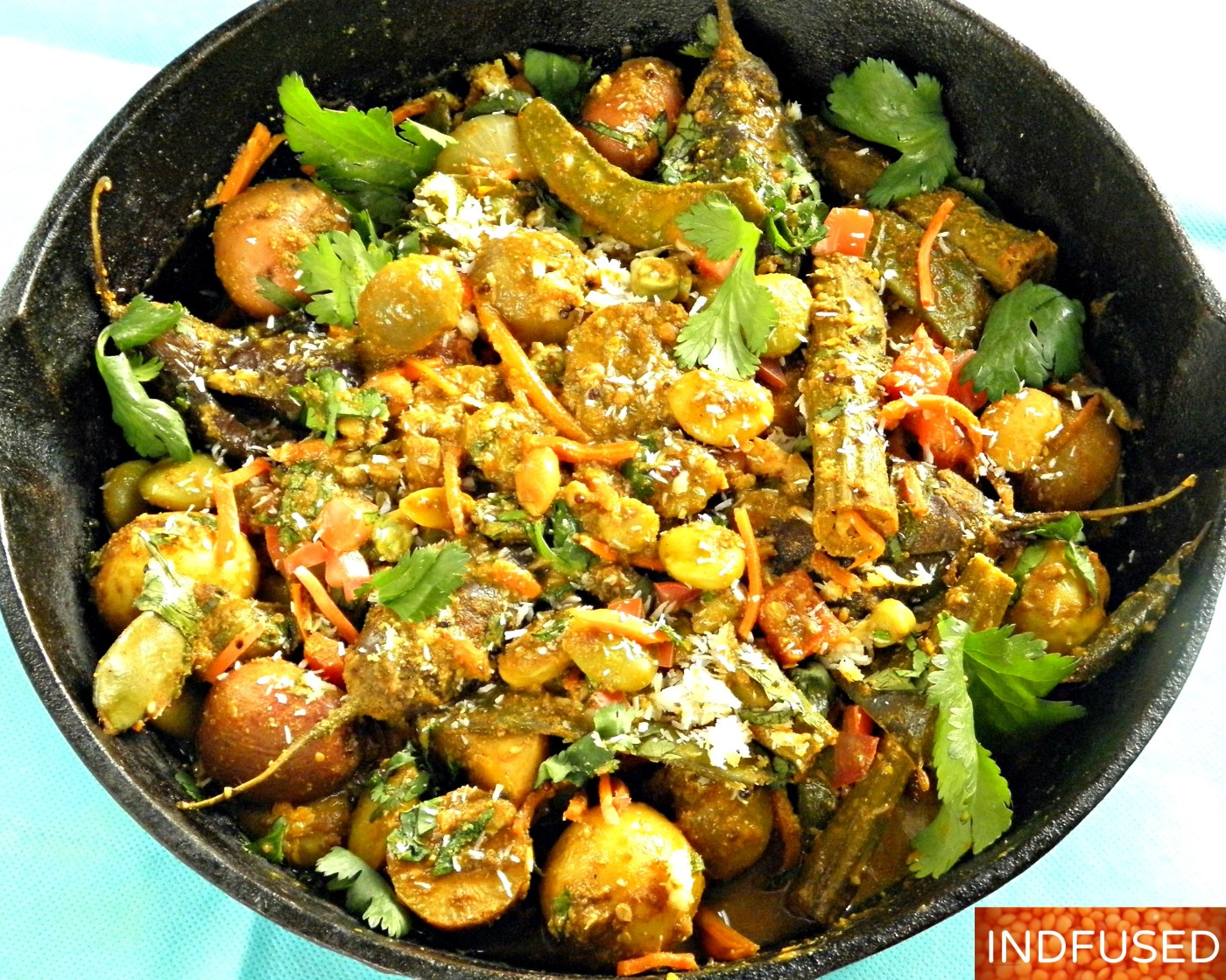 Winter harvest vegetables in a hearty, vegan, gluten free, vegetarian stew/bhaji with peanuts and sesame seeds. Easy Indian heirloom festival recipe.