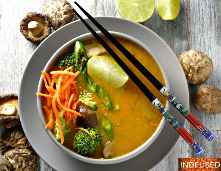 Indian fusion recipe for Thai flavored soup using protein rich dal, dried shitake mushrooms and broccoli. Easy to make, filling and delectable soup