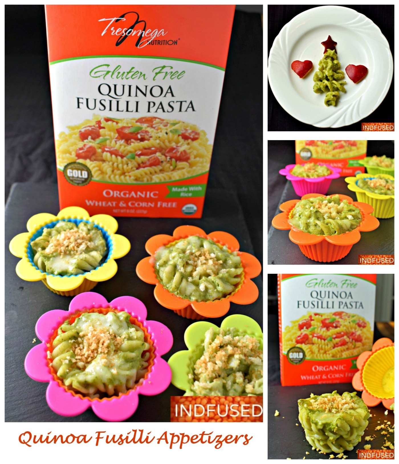 Quinoa Fusilli Appetizers - vegetarian, gluten free Christmas trees or 8 servings of baked fusilli cups
