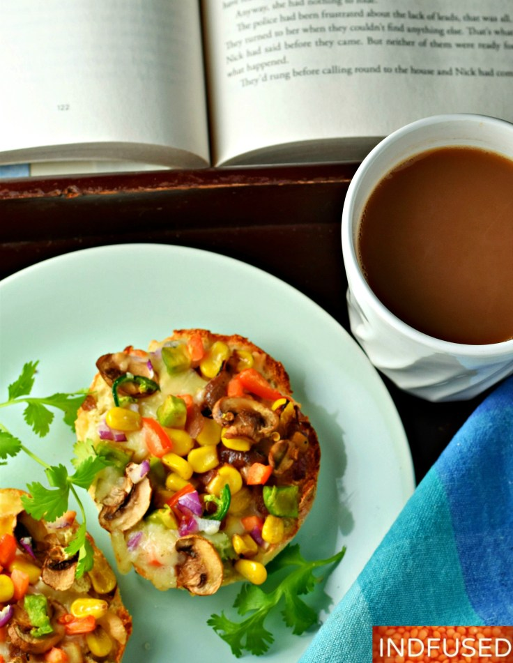 popular #Indian snack in America now with #Englishmuffins, mushroom and #avocado. Bakes in 7 minutes. Serves 4