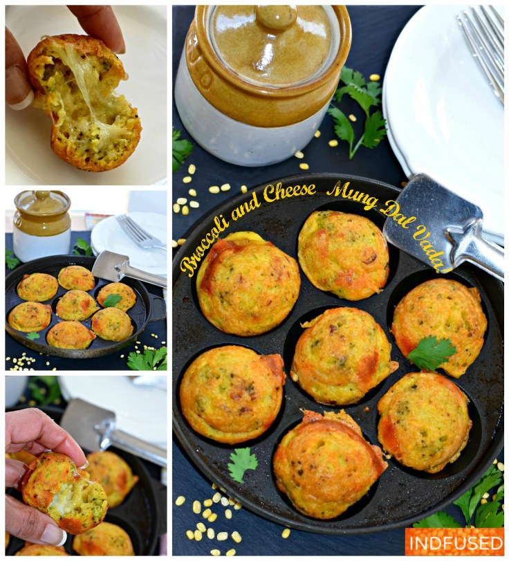 Broccoli and Cheese Mung Dal Vada- crispy on the outside, fluffy and cheesy inside vadas are ready in minutes! makes 28 vadas