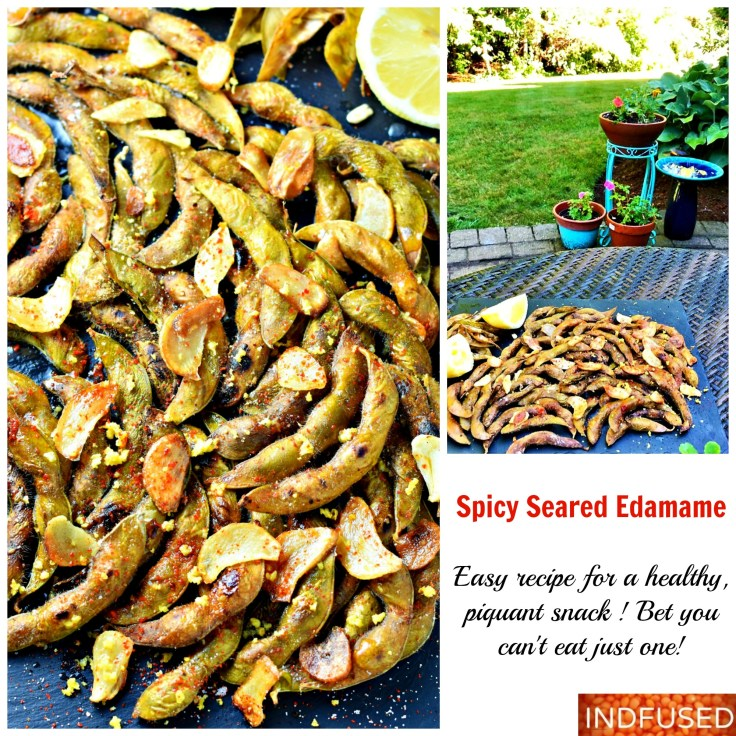 Spicy Seared Edamame -Quick and easy, figure friendly snack that is super scrumptious!