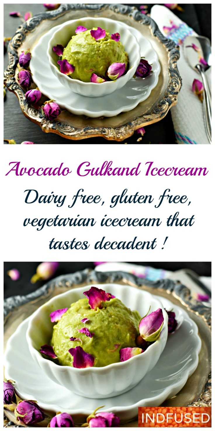 Avocado Gulkand Ice Cream- 3 healthy main ingredients, easy recipe for an Indian fusion dessert, perfect for summer. Dairy free, gluten free, egg-less ice cream with coconut milk and honey. Serves 2. Guilt free dessert.