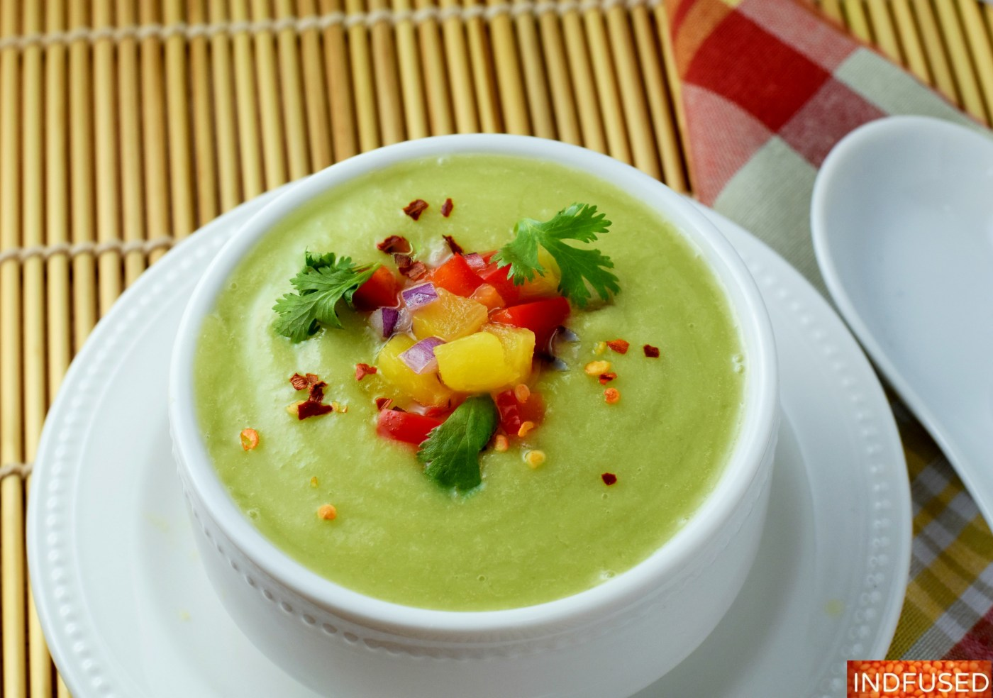 Chilled Cucumber Avocado Soup with ginger is a cooling, refreshing vegetarian, vegan and gluten free soup. perfect for the summer. Serves 2