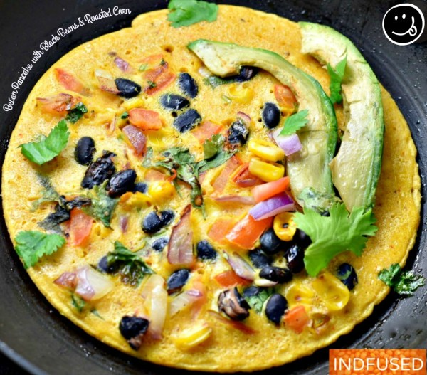 Besan Pancake with Black Beans and Roasted Corn are scrumptious, nubby, protein rich pancakes!