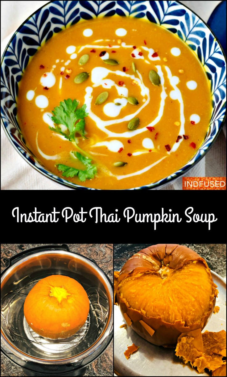 Instant Pot Thai Pumpkin Soup- with turmeric, ginger and coconut milk is delectable and filling. Serves 8.