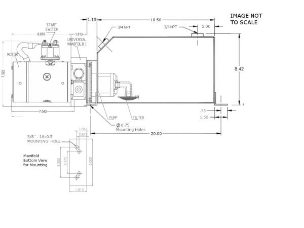 12V DC Single Acting Power Unit - 16 Quart Square Tank