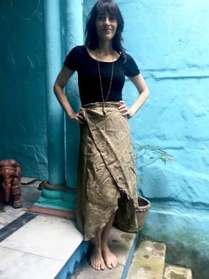 Olive Silk Sari Skirt