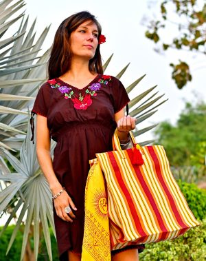 Brown Embroidered Dress with Yellow and Orange tote bag