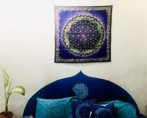 Hand Painted Batik Tapestry - Flower of Life