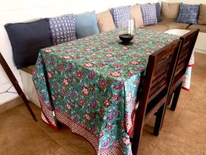 Teal and Pink Floral Block Print Tablecloth