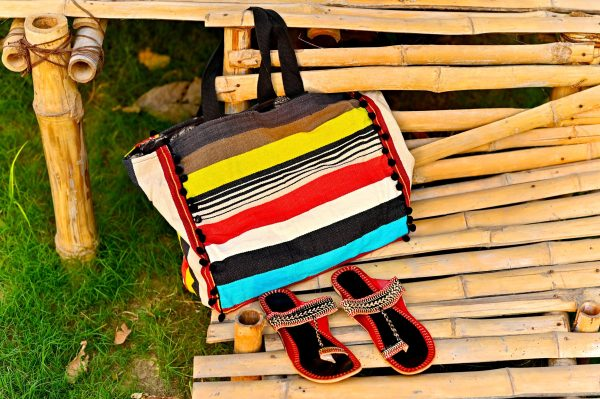 Striped tote bag with black and sandals
