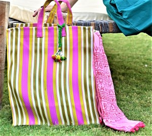 Yellow and Pink Striped Tote Bag