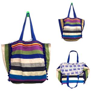 Horizon Blue Striped Tote Bag
