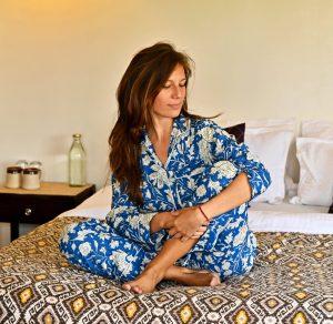 Cotton Pajama Set - Blue Floral