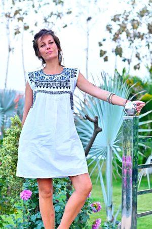 white black embroidered dress 1