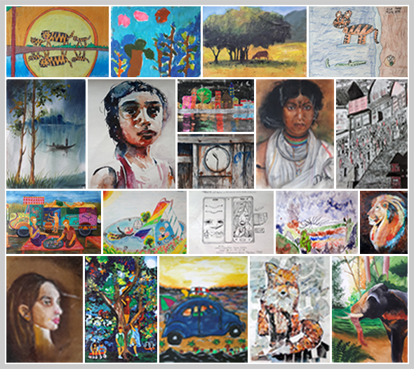 Children art contest Khula Aasmaan medal winning paintings