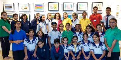 Children from Mansukhbhai Kothari National School, Pune at Indiaart Gallery