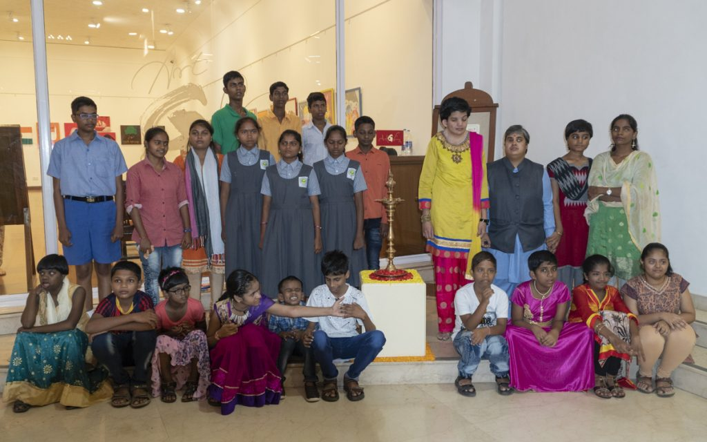 Children with disabilities at the exhibition to mark Children's Day