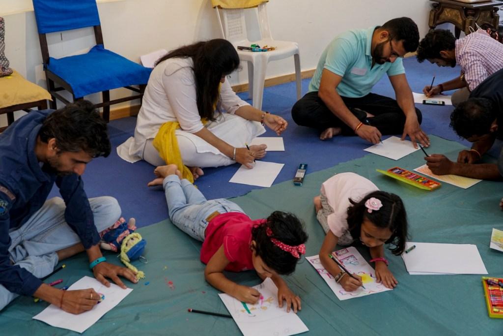 Everyone is comfortable at Khula Aasmaan painting workshop
