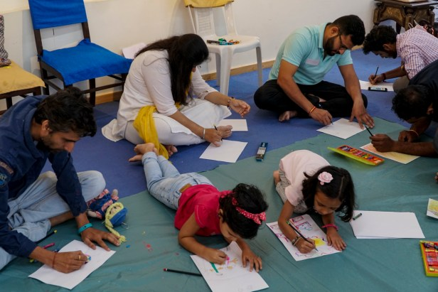 Everyone is comfortable at Khula Aasmaan painting workshop