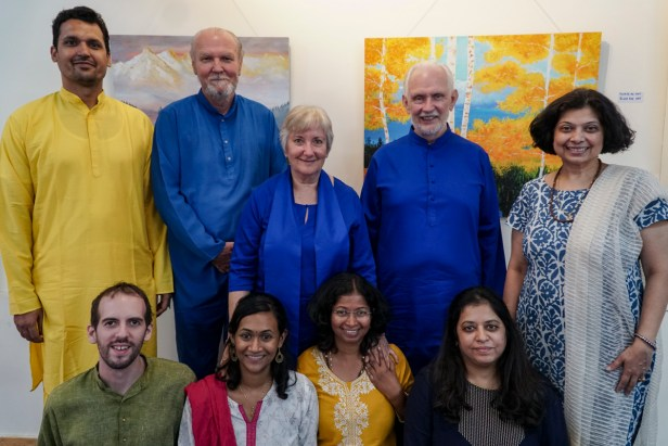 Nayaswami Jyotish and Nayaswami Devi with team at Ananda Sangha, Pune