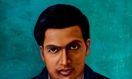 Srinivas Ramanujan, portrait painting by Dr. G. Ambika