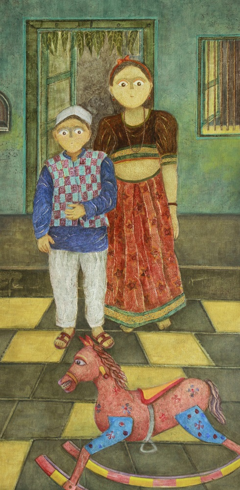Playtime, painting by Manisha Patil, Acrylic on Canvas, 48 x 24 inches