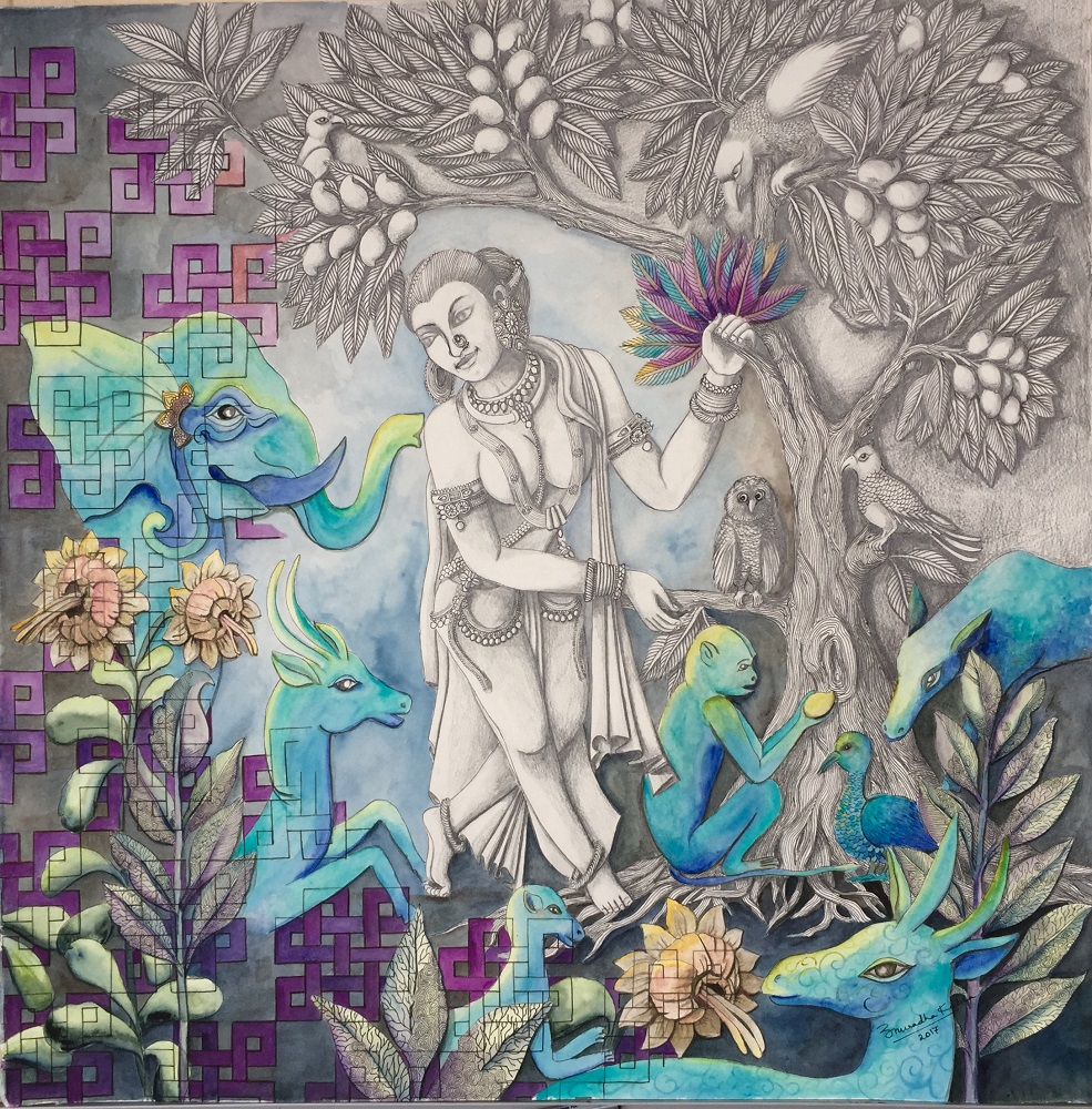 Shrivatsa, painting by artist Anuradha Kabra, watercolour pencil on paper, 26 x 26 inches