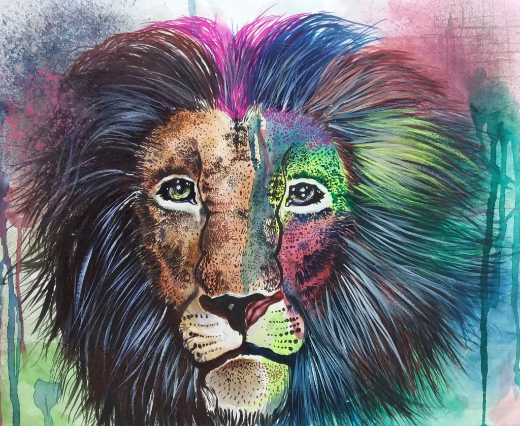 Leo the King, painting by child artist Tanuj Samaddar
